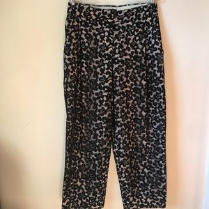 J Crew Collection French Lace Black Capri Pant